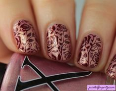 Painted Fingertips | Rose stamping with plate BP-L001 - The Digital Dozen does Stamping