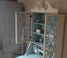 chippendale style secretary desk painted distressed i 1024x885 Vintage Secretary Desk with Hutch and Drawers Painted and Distressed