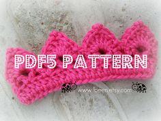 PDF5 Pattern  Mini crown crochet pattern by LadybugLB2 on Etsy, $2.99