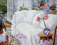 Romantic Garden Cottage -  Susan Rios Heartwarming Paintings  - The Guest House - Susan Rios Paintings of Soft Peaceful Room  24