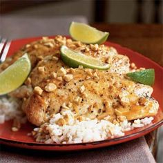 Thai fish sauce and lime chicken.  One of the best easiest chicken recipes!