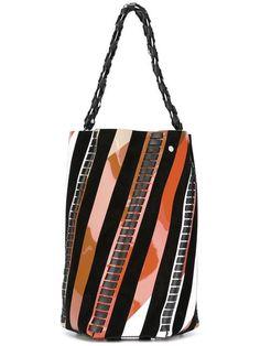 Shop Proenza Schouler medium 'Hex' striped bucket bag.