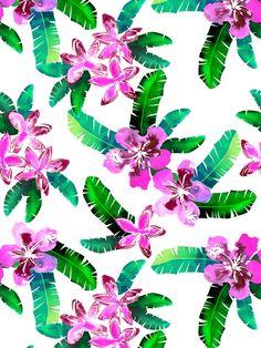 Tahitian Garden {A} Art Print by schatzibrwow.  Lush tropical pattern.