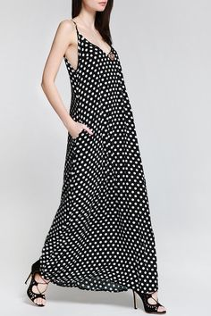 Spaghetti Strap Polka Dot A-Line Maxi Dress BLACK: Maxi Dresses | ZAFUL