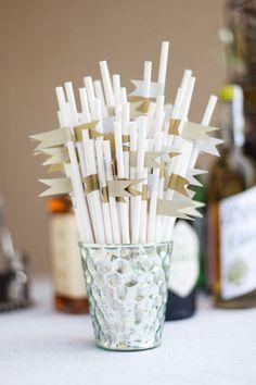 gold flag straws, photo by Morgan Trinker http://ruffledblog.com/handcrafted-alabama-wedding #wedding