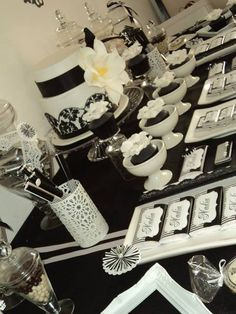 Glam Black and White Birthday Party Dessert Table! See more party ideas at CatchMyParty.com!