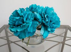 Turquoise Peonies in Round Glass Vase with by ChicagoSilkFlorist #Tealflowers