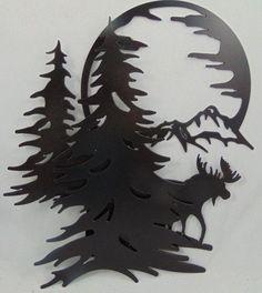 Metal Moose, Mountains, Trees, Moon Scene Wall Hanging / Wall Art / Oil Rubbed Bronze Finish, Custom Cabin Mountain Retreat by ArrowheadIron Metal Tree Wall Art, Hanging Wall Art, Metal Art, Wood Art, Wall Art Decor, Tree Artwork, Metal Projects, Metal Crafts, Art Projects