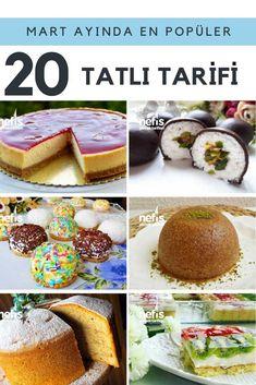 Mart ayının çok kişi tarafından denenen en güzel tatlı tarifleri listesi sizler için özel olarak hazırlandı! Değişik tatlı tarifleri kolay uygulanabilir püf noktalı, resimli anlatımları ile tek tıkla yanınızda. Cheesecake, yaş pasta, kek, mini toplar, helva, kalburabastı ve çok daha fazlası burada!