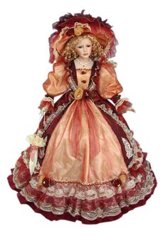 38 Inch Victorian Style Umbrella Dolls Porcelain Doll Victorian Style 38 Inch Umbrella Dolls Porcelain Doll Orange and Burgundy
