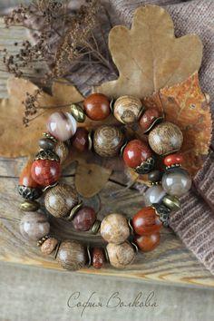 """Купить Браслеты """"Теплые листья"""" - браслет, крупный браслет, комплект браслетов, осеннее украшение"""