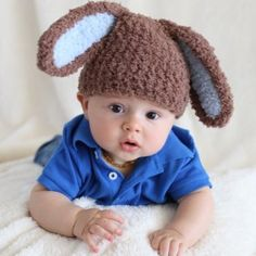 Melondipity Boys Handmade Soft Brown & Blue Easter Bunny Beanie Crochet Baby Hat
