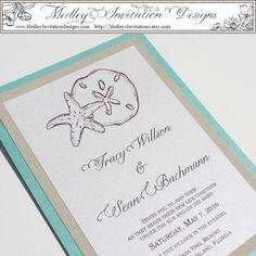 Tiffany Blue Starfish and Sand Dollar. $5.00, via Etsy.  Beach Destination Hand Painted Watercolor Wedding Invitation Set.  Medley Invitation Designs