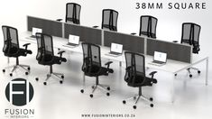 38mm steel framed cluster desking various sizes and optional filing available. visit our website www.fusioninteriors.co.za Green Office, Ideal Tools, Quality Furniture, Decorating Blogs, Steel Frame, Office Furniture, Your Space, Layout Design, Cool Designs