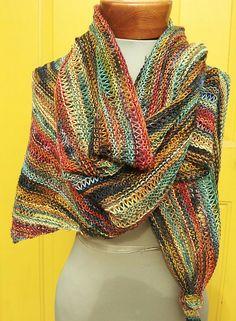 Ravelry: All Colors Work Shawl pattern by Diane Piwko / Fiber Circle Yarn Shop FREE Loom Knitting, Free Knitting, Knitting Patterns Free, Crochet Patterns, Free Pattern, Knitting Tutorials, Vintage Knitting, Knitted Poncho, Knitted Shawls