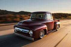 Bodie Stroud's 1956 Ford restomod offers timeless lines and modern tech! Ford Classic Cars, Classic Trucks, 1956 Ford Truck, Modern Tech, Ford F Series, Us Cars, Custom Trucks, Custom Cars, Cool Trucks