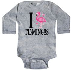 Flamingo Bird Cute Long Sleeve Creeper Heather Grey $21.99 www.homewiseshopperkids.com
