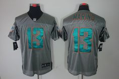 Dan Marino Elite Jersey: Nike NFL shadow #13 Miami Dolphins Jersey in grey    ID:696410170  $24