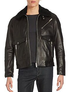 The Kooples Lamb Wool-Trimmed Leather Jacket - Black - Size X Small