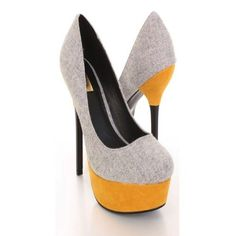 67023fd6071 Grey Canvas Fabric Faux Suede Leather Platform Heels ❤ liked on Polyvore  featuring shoes