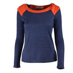 Wholesale Navy Womens Crewneck Long Sleeve Knitted Slim Contrast Shirts Blouses Tops B1665-13