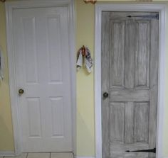 """Before and halfway done pantry door - rubbed grey paint on then wiped off, cut out black """"ironwork"""" out of contact paper"""