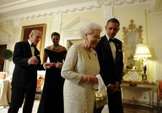 Queen Elizabeth with President Barack Obama, and behind are Prince Philip and First Lady Michelle Obama