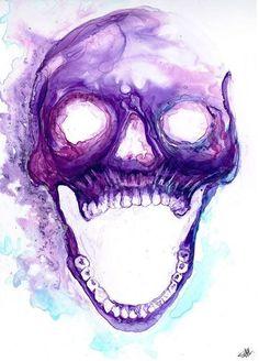 Tumblr art, pintura, acuarela morada, calavera arte, hipster, cool, estilo, creativo