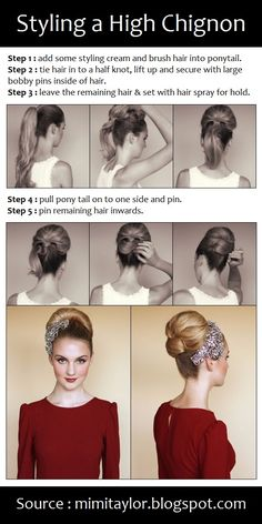 Styling a High Chignon | PinTutorials