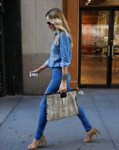 How to wear my denim tops. Love it with the nude heels.