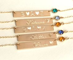 Birthstone Necklace Bar Necklace Name Necklace Personalized