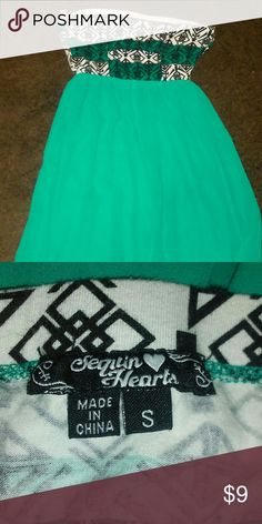 Tribal Dress Great condition above the knee strapless dress with cutout on the back blue green color Sequin Hearts Dresses Mini