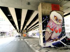 """graffiti owls"" - I like the composition in this street art - with the stripe"