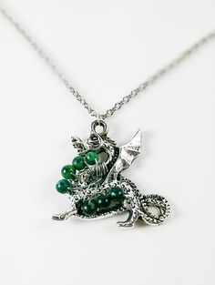 Green Jasper Silver Dragon Necklace by HopeThomasJewelry on Etsy