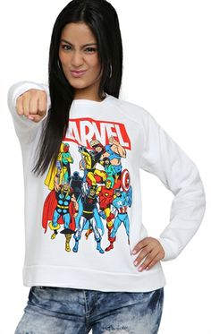 Deb Shops long sleeve french terry with #marvel #comics screen $12.45