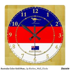 Australia Color Gold Number Modern Wall Clock Gift https://www.zazzle.com/kitchen_wall_clocks/products?rf=238136051362953437