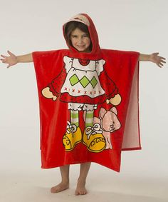 Red Strawberry Shortcake Terry Hooded Poncho