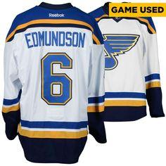 Joel Edmundson St. Louis Blues Fanatics Authentic Game-Used 2016-17 50th Anniversary Season Set 1 Road White Jersey