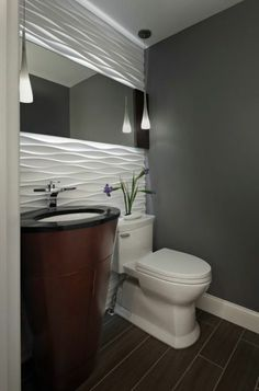 Modern fixtures, cool-toned tile and glass shower doors create a contemporary clutter-free statement, as shown in the powder room below. Description from pinterest.com. I searched for this on bing.com/images