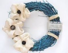 blue and flower wreath