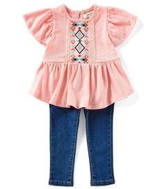 fd0dca795 Jessica Simpson Baby Girls 12-24 Months Flutter-Sleeve Lace-Trimmed Slub Top  & Five-Pocket Jeans Set | Dillard's