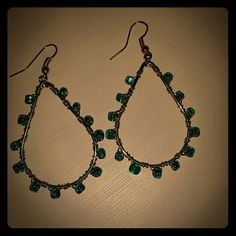 Handcrafted wire wrapped earrings Each bead is wire wrapped onto the hoop. Jewelry Earrings