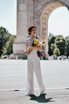 Andreea Birsan - Ruby Red Metropolis Shoulder Bag, White Wide Leg Trousers, Ace Heart Embroidered Sneakers, White Lace Up Corset, Striped T Shirt, Red Beret, Silver Hoop Earrings, Aviator Clear Lens Glasses - Parisian