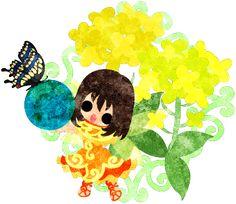 春のフリーのイラスト素材可愛い妖精と綺麗な菜の花と蝶と地球儀  Free Illustration of spring Pretty fairy and beautiful brassica and butterfly and globe   http://ift.tt/2mHK8F4