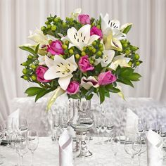30 stems Mixed bouquet Royal Affair - White and Hot Pink - Pack 5 – Eblooms Farm Direct Inc. Garden Wedding Centerpieces, Wedding Reception Table Decorations, Wedding Table Settings, Peonies Centerpiece, Flower Centerpieces, Flower Arrangements, Table Centerpieces, Fall Bouquets, White Wedding Bouquets