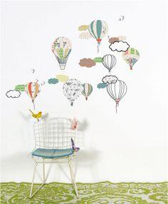 Luchtballonnen muurstickers voor de #kinderkamer | Hot air balloons #kidsroom