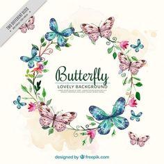 Fundo da aguarela com coroa de flores e borboletas Vetor grátis