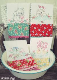 These towels by Vintage Grey are Lovely! #vintageembroidery