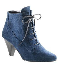 Cute Ankle Boots, Denim Boots, Denim Fashion, Vintage Fashion, Vintage Style, Kitten Heels, Vogue, Lace Up, Footwear