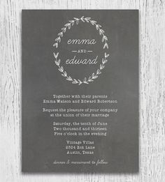 boho themed rustic chalkboard wedding invitation cards